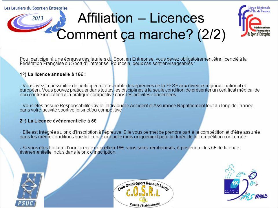 Affiliation – Licences Comment ça marche? (2/2) Pour participer à une épreuve des lauriers du Sport en Entreprise, vous devez obligatoirement être lic
