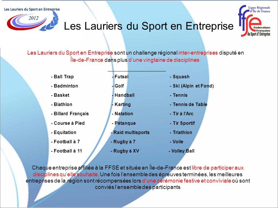 Les Lauriers du Sport en Entreprise Les Lauriers du Sport en Entreprise sont un challenge régional inter-entreprises disputé en Île-de-France dans plu