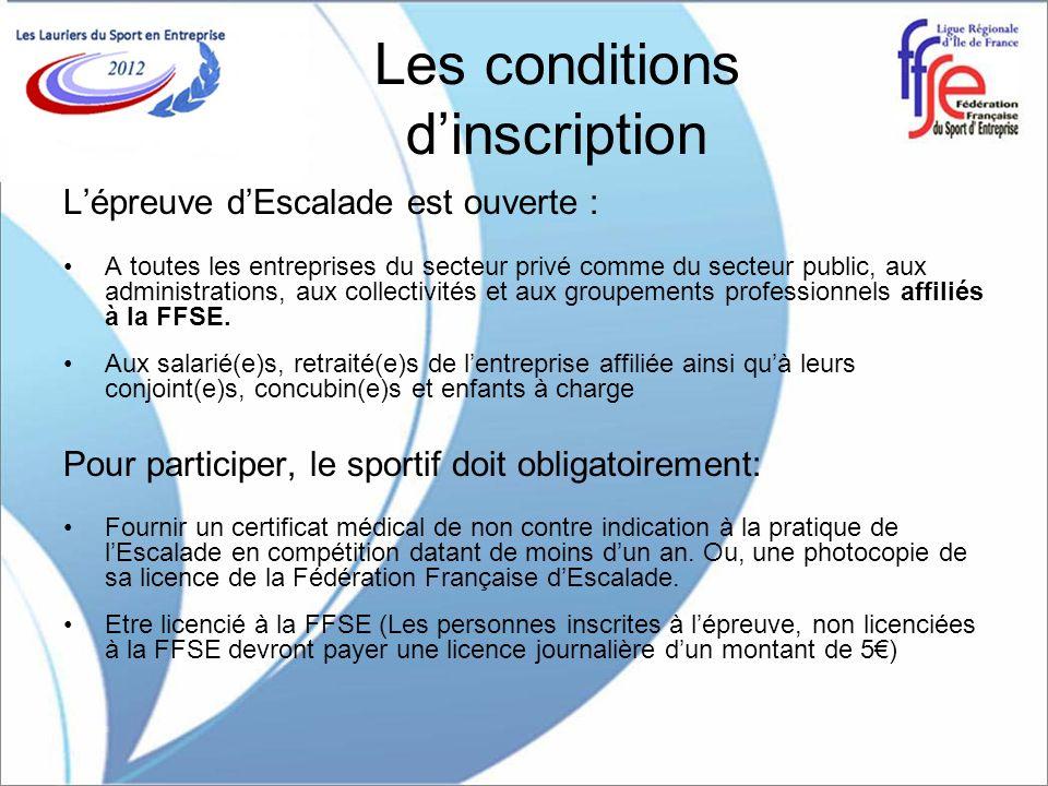 Les conditions dinscription Lépreuve dEscalade est ouverte : A toutes les entreprises du secteur privé comme du secteur public, aux administrations, a