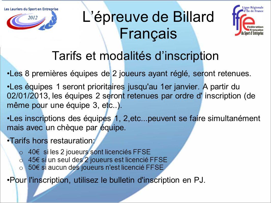 Lépreuve de Billard Français Tarifs et modalités dinscription Les 8 premières équipes de 2 joueurs ayant réglé, seront retenues. Les équipes 1 seront