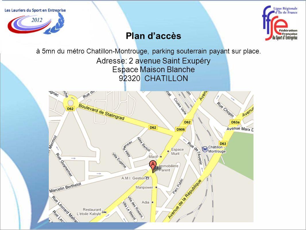 Lépreuve de Billard Français Plan daccès à 5mn du métro Chatillon-Montrouge, parking souterrain payant sur place. Adresse: 2 avenue Saint Exupéry Espa