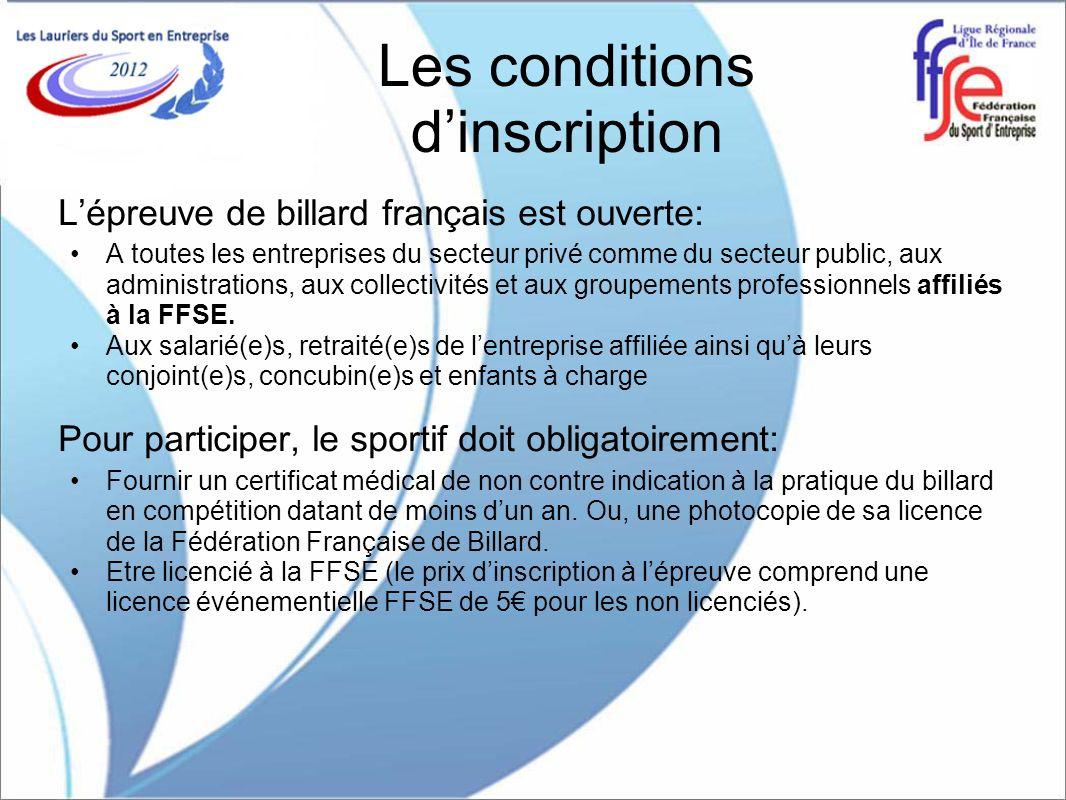 Les conditions dinscription Lépreuve de billard français est ouverte: A toutes les entreprises du secteur privé comme du secteur public, aux administr