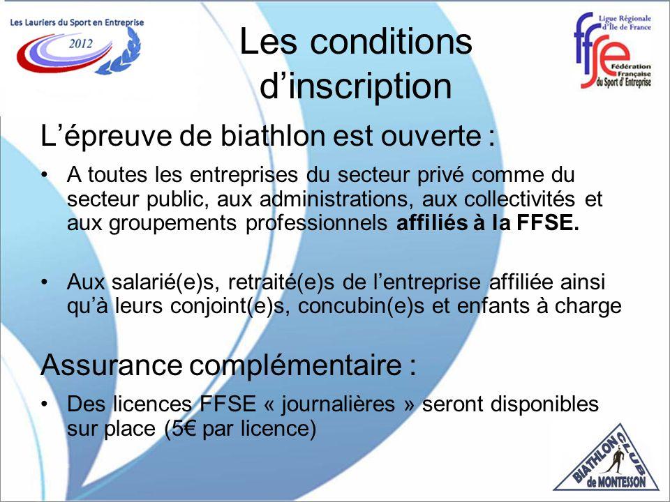 Les conditions dinscription Lépreuve de biathlon est ouverte : A toutes les entreprises du secteur privé comme du secteur public, aux administrations, aux collectivités et aux groupements professionnels affiliés à la FFSE.