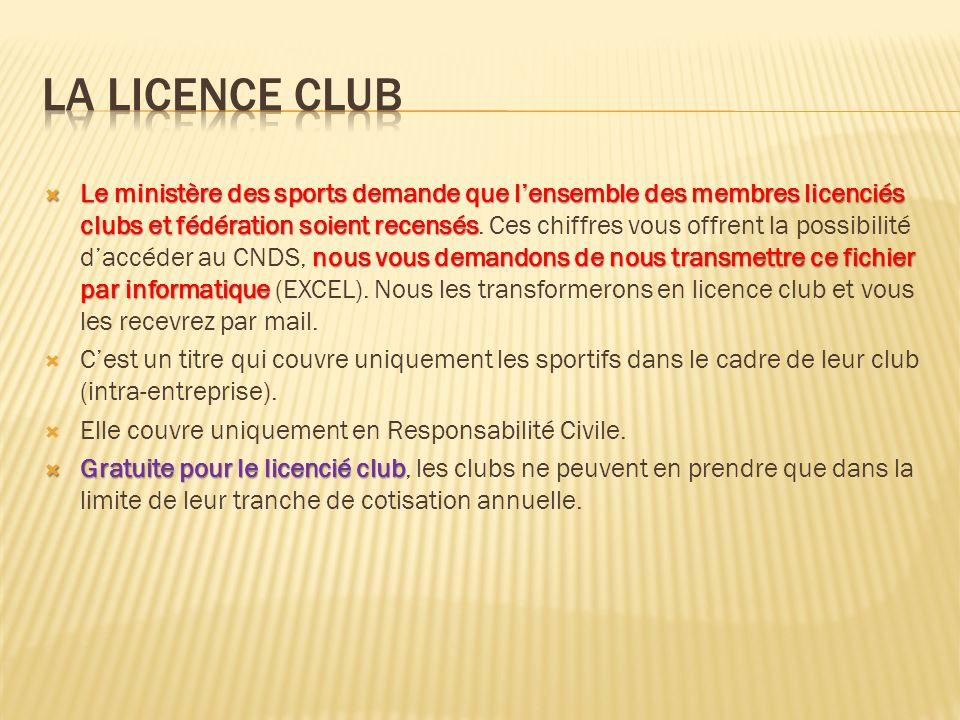 Le ministère des sports demande que lensemble des membres licenciés clubs et fédération soient recensés nous vous demandons de nous transmettre ce fic