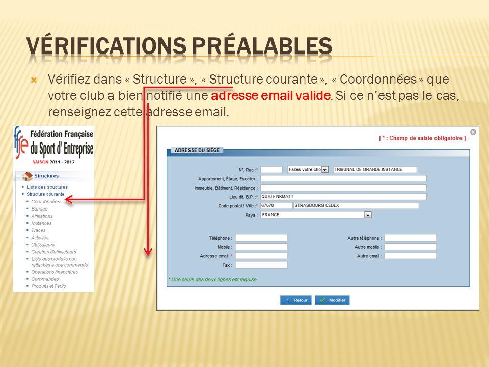 Vérifiez dans « Structure », « Structure courante », « Coordonnées » que votre club a bien notifié une adresse email valide. Si ce nest pas le cas, re