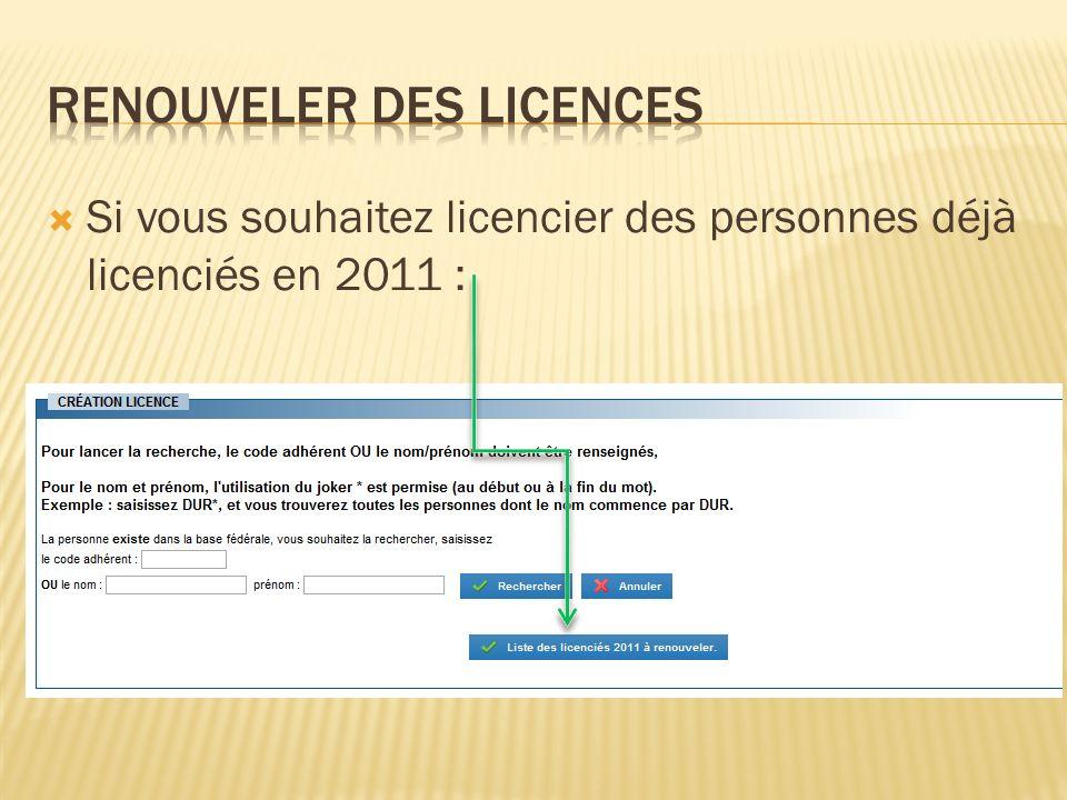 Si vous souhaitez licencier des personnes déjà licenciés en 2011 :