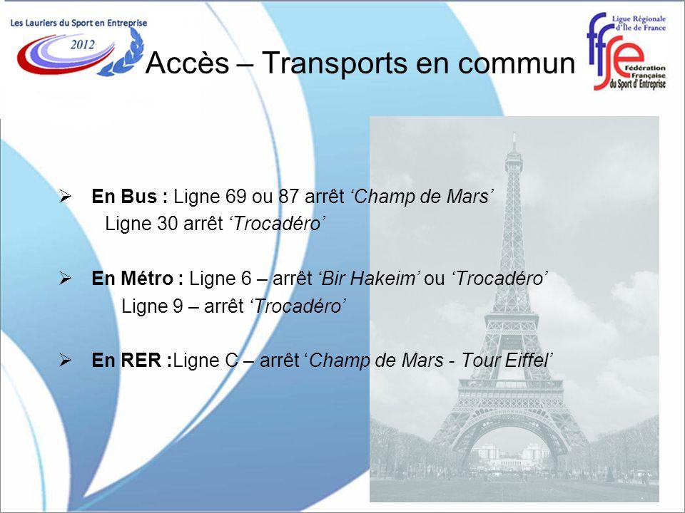 Accès – Transports en commun En Bus : Ligne 69 ou 87 arrêt Champ de Mars Ligne 30 arrêt Trocadéro En Métro : Ligne 6 – arrêt Bir Hakeim ou Trocadéro L