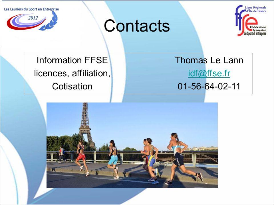 Contacts Information FFSEThomas Le Lann licences, affiliation,idf@ffse.fridf@ffse.fr Cotisation01-56-64-02-11