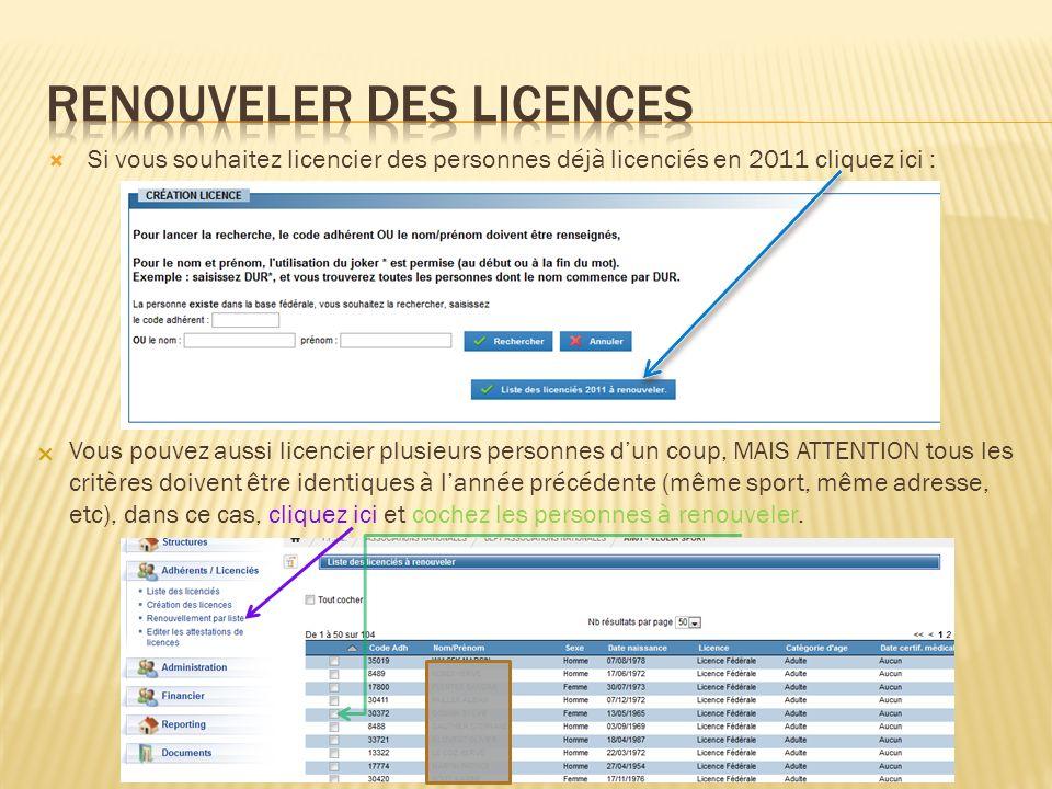 Si vous souhaitez licencier des personnes déjà licenciés en 2011 cliquez ici : Vous pouvez aussi licencier plusieurs personnes dun coup, MAIS ATTENTIO