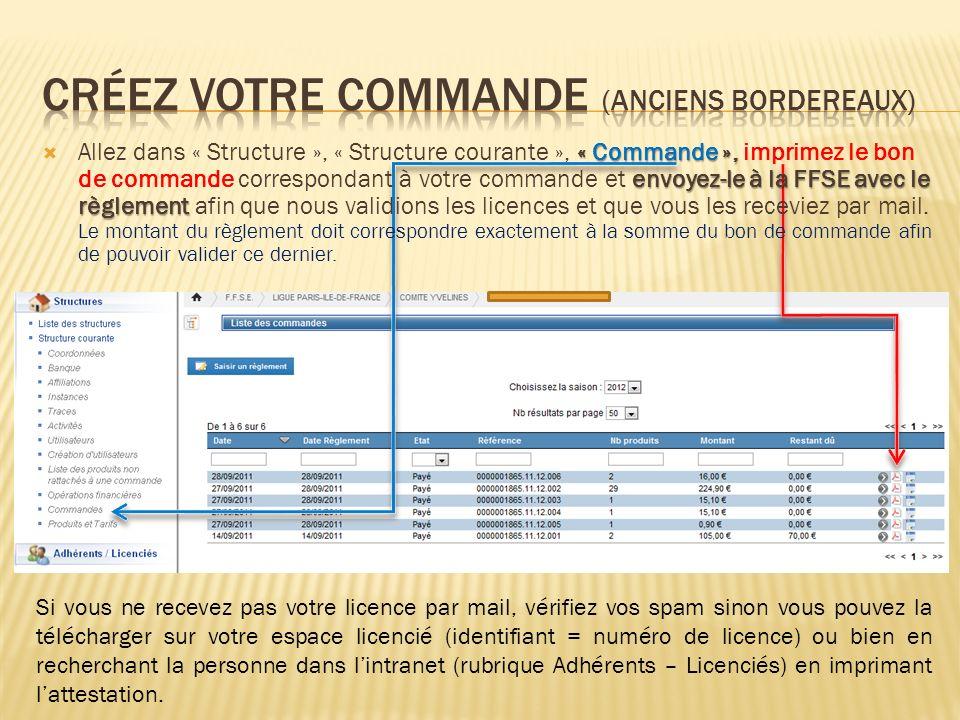 « Commande », envoyez-le à la FFSE avec le règlement Allez dans « Structure », « Structure courante », « Commande », imprimez le bon de commande corre