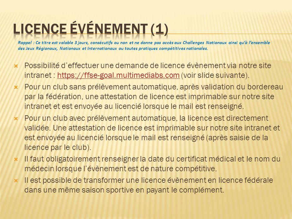 Possibilité deffectuer une demande de licence évènement via notre site intranet : https://ffse-goal.multimediabs.com (voir slide suivante).https://ffs