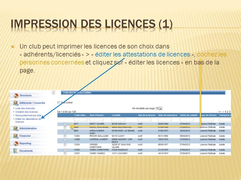 Un club peut imprimer les licences de son choix dans « adhérents/licenciés » > « éditer les attestations de licences », cochez les personnes concernée