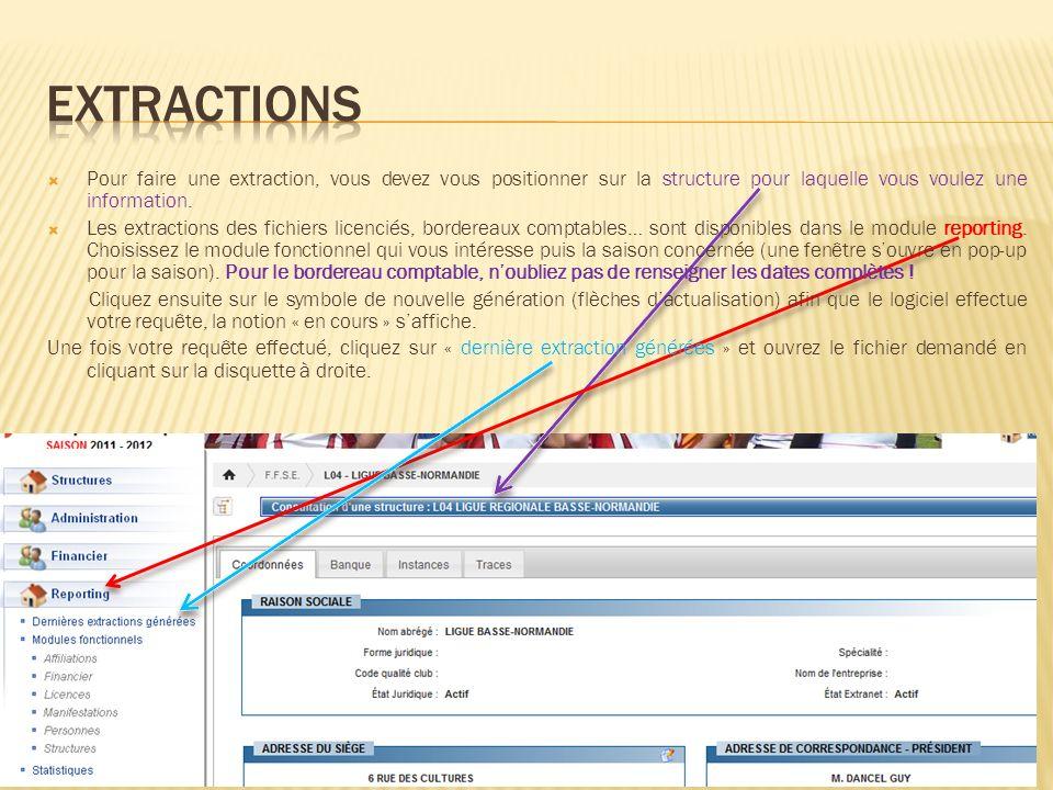 Pour faire une extraction, vous devez vous positionner sur la structure pour laquelle vous voulez une information. Les extractions des fichiers licenc