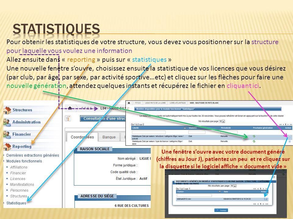 Pour obtenir les statistiques de votre structure, vous devez vous positionner sur la structure pour laquelle vous voulez une information Allez ensuite