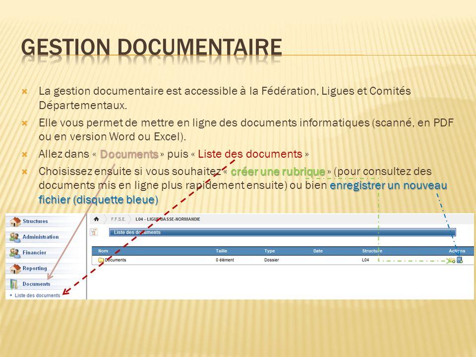 La gestion documentaire est accessible à la Fédération, Ligues et Comités Départementaux. Elle vous permet de mettre en ligne des documents informatiq