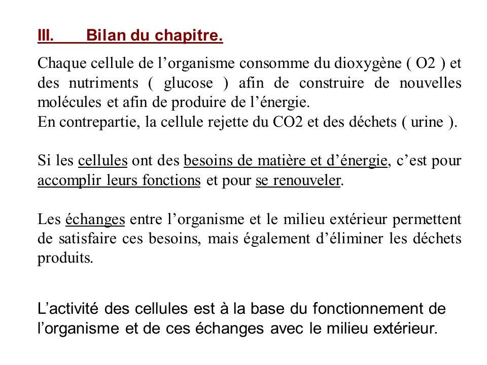 III.Bilan du chapitre. Chaque cellule de lorganisme consomme du dioxygène ( O2 ) et des nutriments ( glucose ) afin de construire de nouvelles molécul