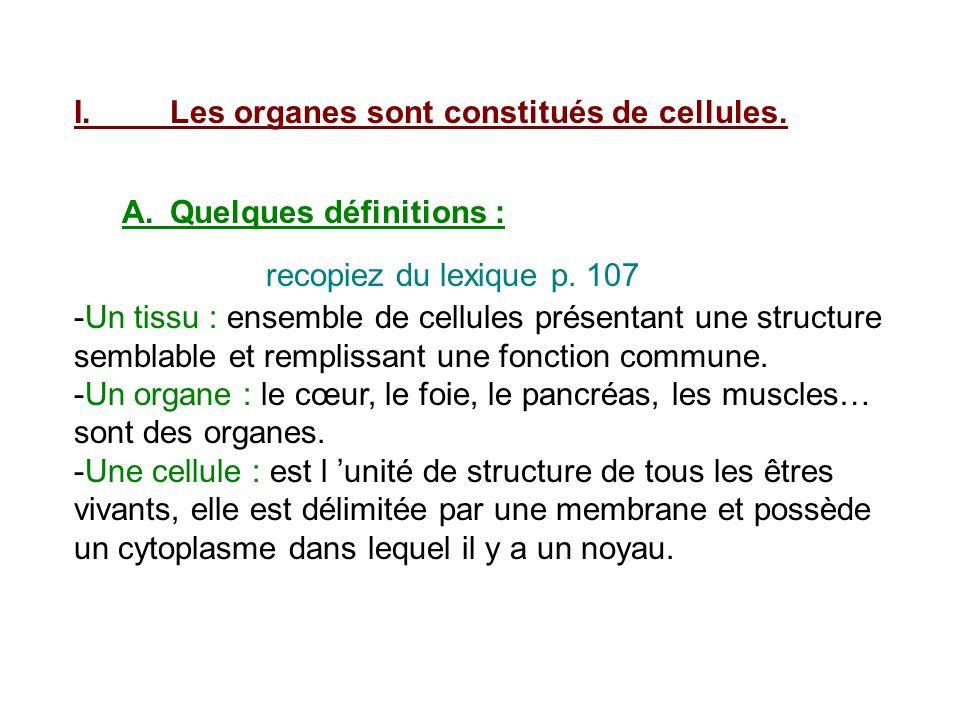 I.Les organes sont constitués de cellules. A.Quelques définitions : recopiez du lexique p. 107 -Un tissu : ensemble de cellules présentant une structu