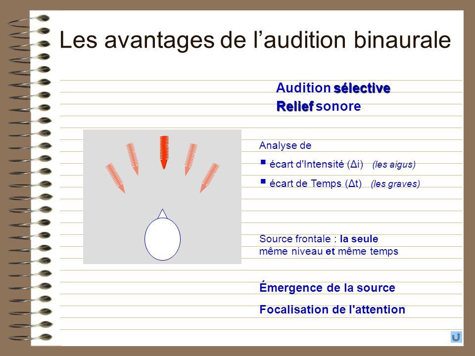 sélective Audition sélective Relief Relief sonore Source frontale : la seule même niveau et même temps Émergence de la source Focalisation de l'attent