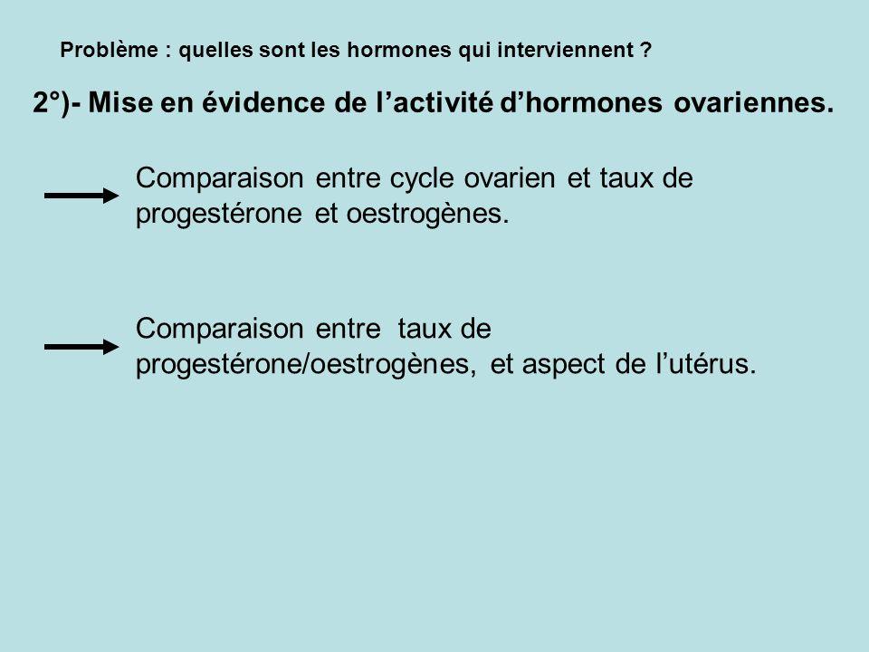 Problème : quelles sont les hormones qui interviennent ? 2°)- Mise en évidence de lactivité dhormones ovariennes. Comparaison entre cycle ovarien et t