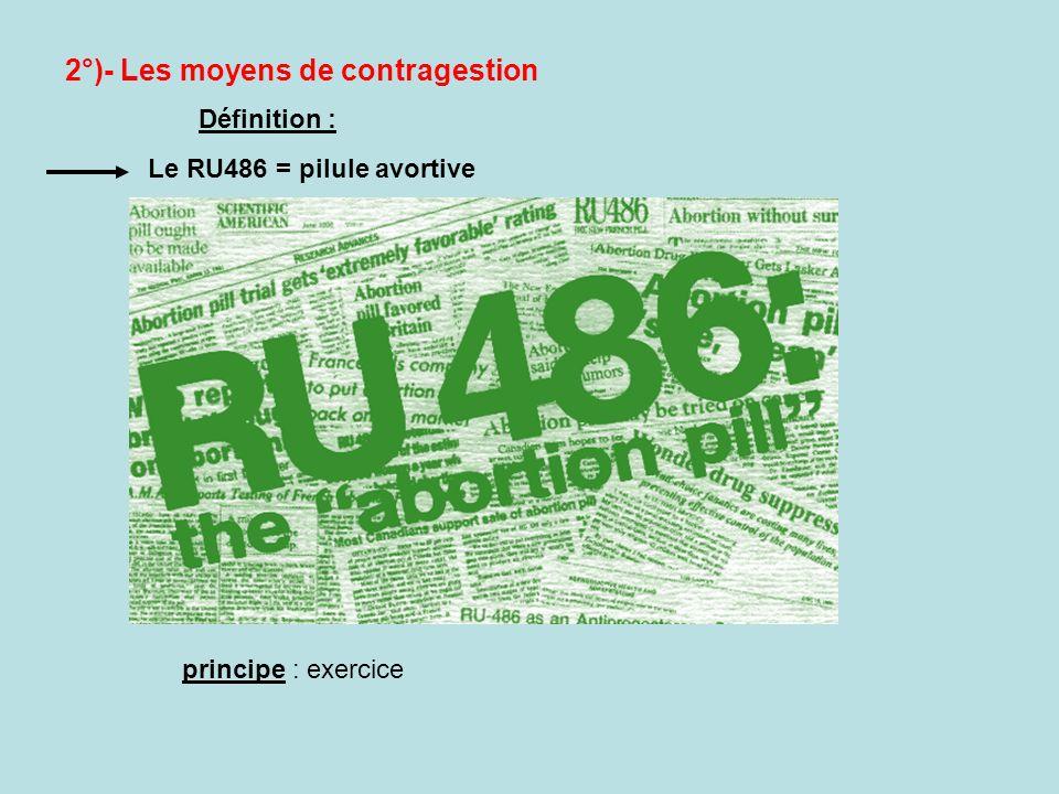 2°)- Les moyens de contragestion Le RU486 = pilule avortive Définition : principe : exercice