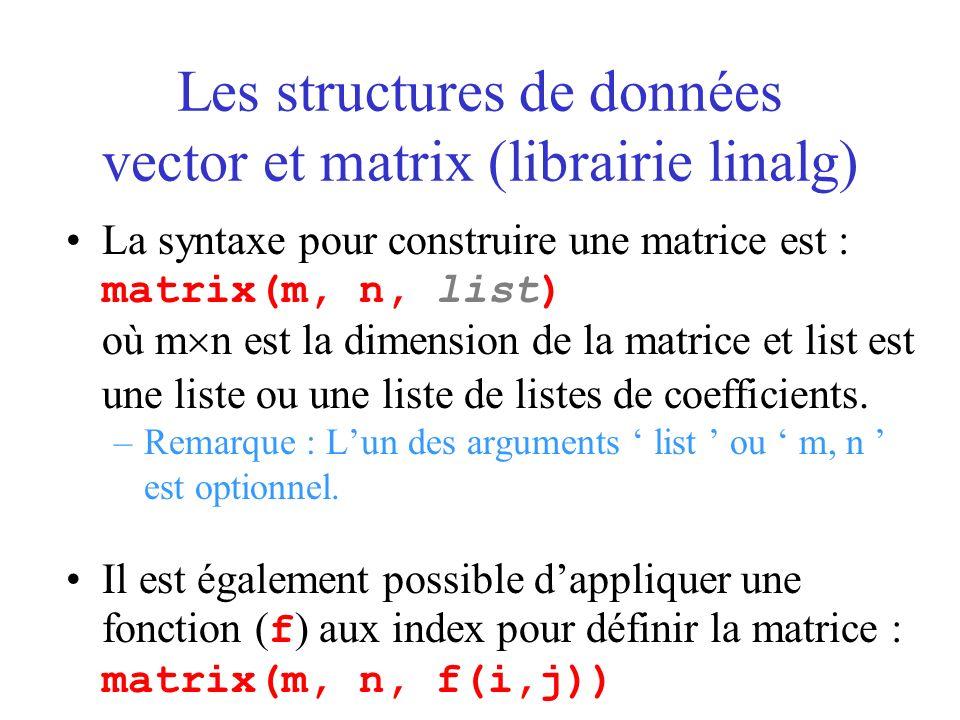 Les structures de données vector et matrix (librairie linalg) La syntaxe pour construire une matrice est : matrix(m, n, list) où m n est la dimension