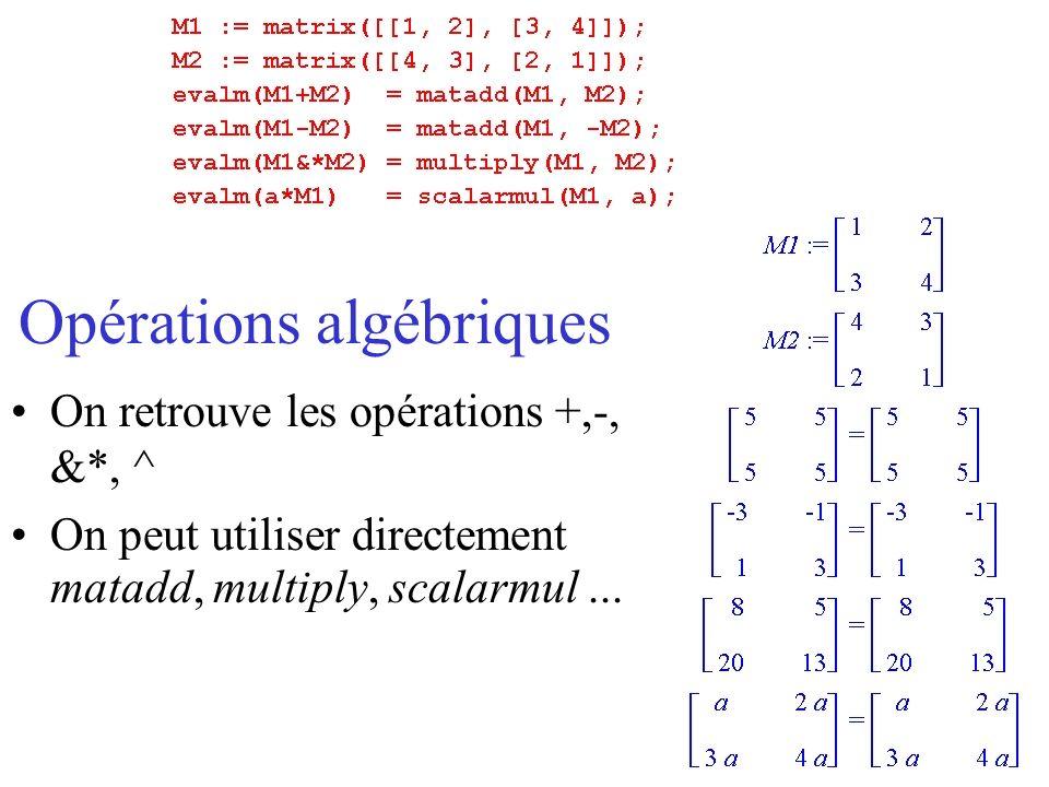 Opérations algébriques On retrouve les opérations +,-, &*, ^ On peut utiliser directement matadd, multiply, scalarmul...