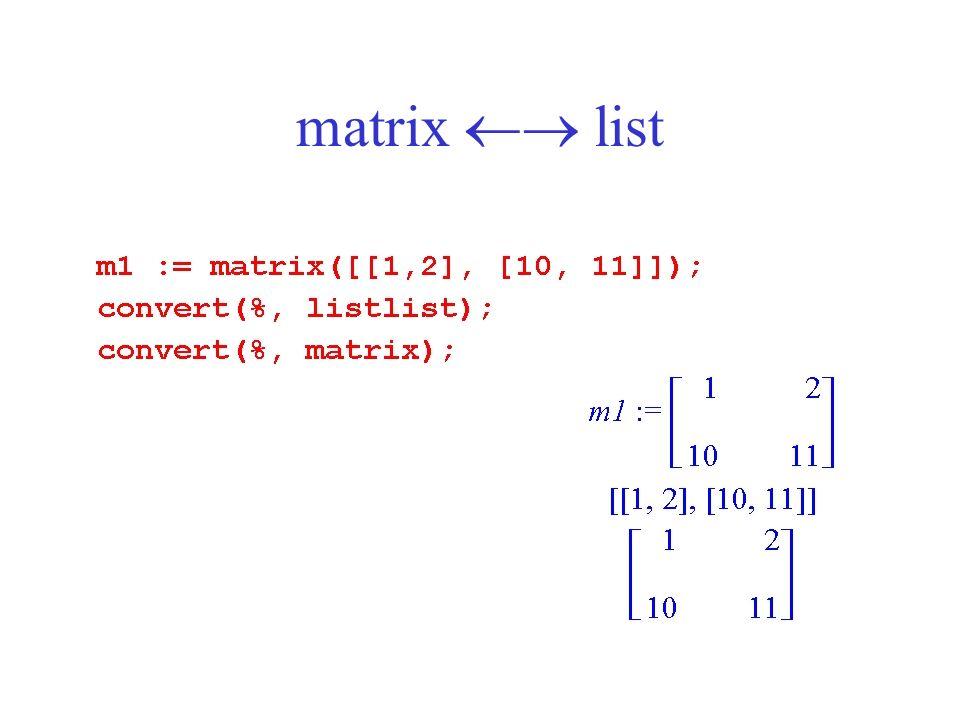 matrix list