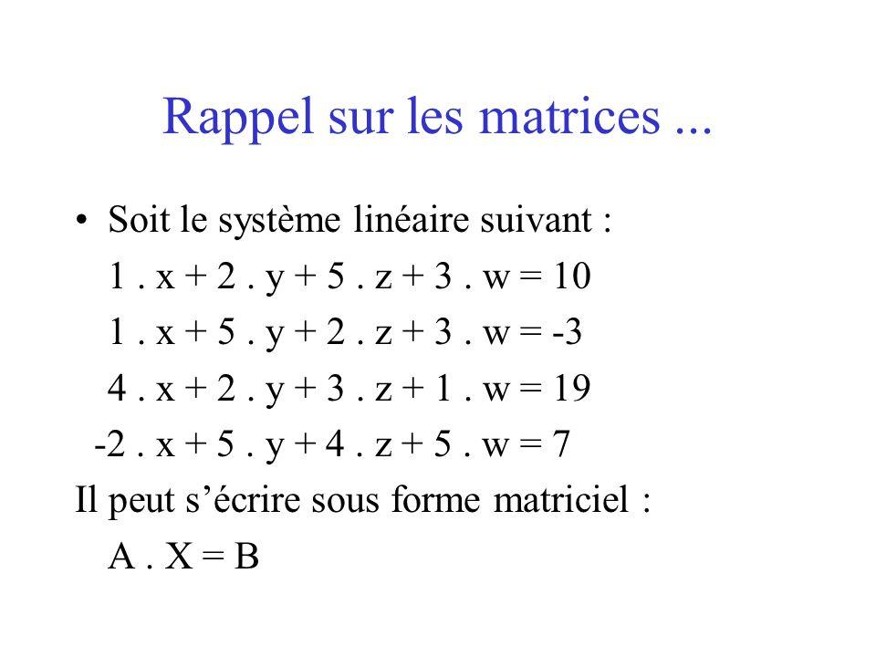 Rappel sur les matrices... Soit le système linéaire suivant : 1. x + 2. y + 5. z + 3. w = 10 1. x + 5. y + 2. z + 3. w = -3 4. x + 2. y + 3. z + 1. w