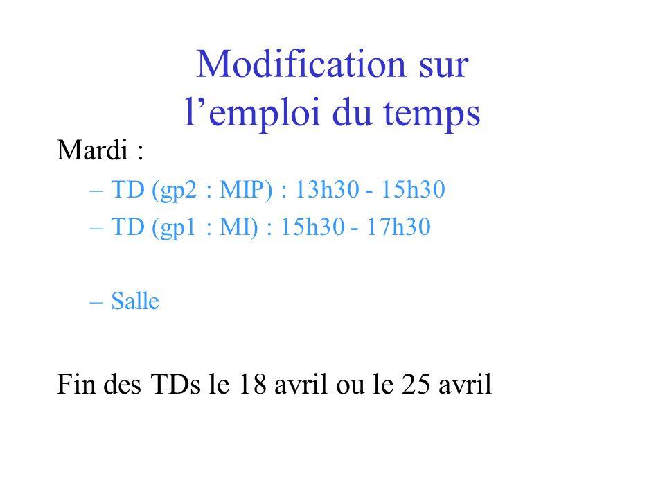 Modification sur lemploi du temps Mardi : –TD (gp2 : MIP) : 13h30 - 15h30 –TD (gp1 : MI) : 15h30 - 17h30 –Salle Fin des TDs le 18 avril ou le 25 avril