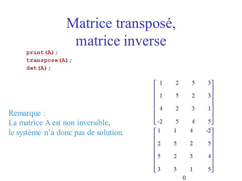 Remarque : La matrice A est non inversible, le système na donc pas de solution.