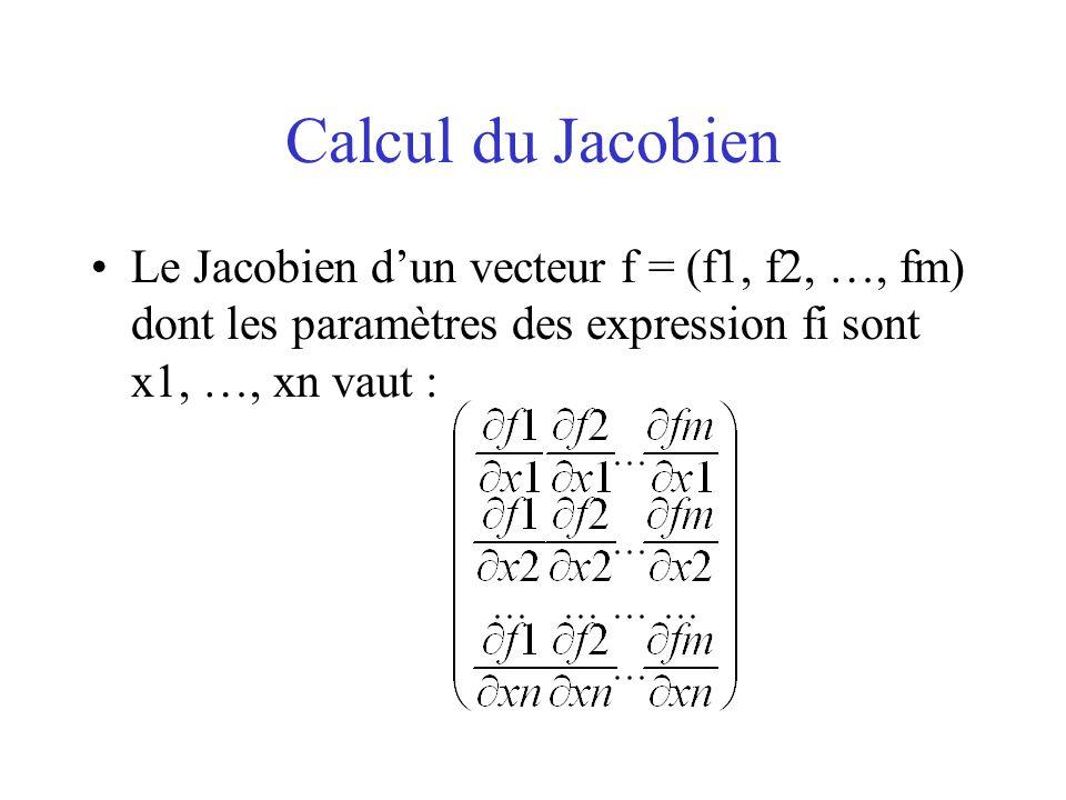 Calcul du Jacobien Le Jacobien dun vecteur f = (f1, f2, …, fm) dont les paramètres des expression fi sont x1, …, xn vaut :