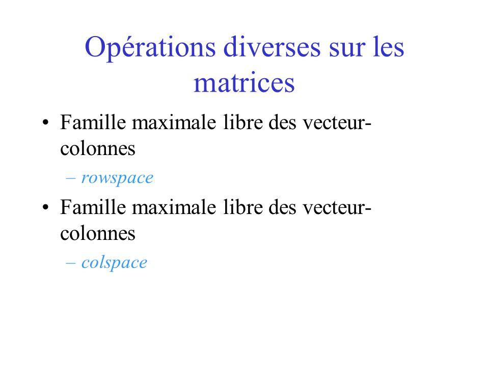 Opérations diverses sur les matrices Famille maximale libre des vecteur- colonnes –rowspace Famille maximale libre des vecteur- colonnes –colspace