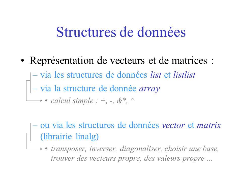 Structures de données Représentation de vecteurs et de matrices : –via les structures de données list et listlist –via la structure de donnée array ca