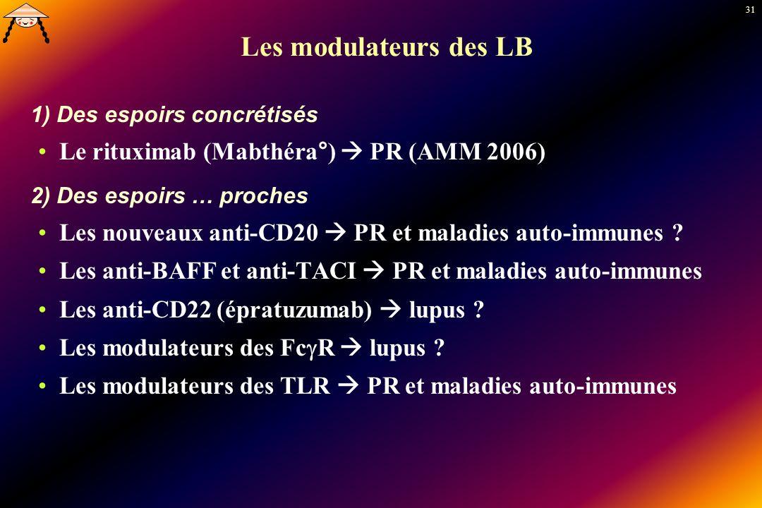 31 Les modulateurs des LB 1) Des espoirs concrétisés Le rituximab (Mabthéra°) PR (AMM 2006) 2) Des espoirs … proches Les nouveaux anti-CD20 PR et mala