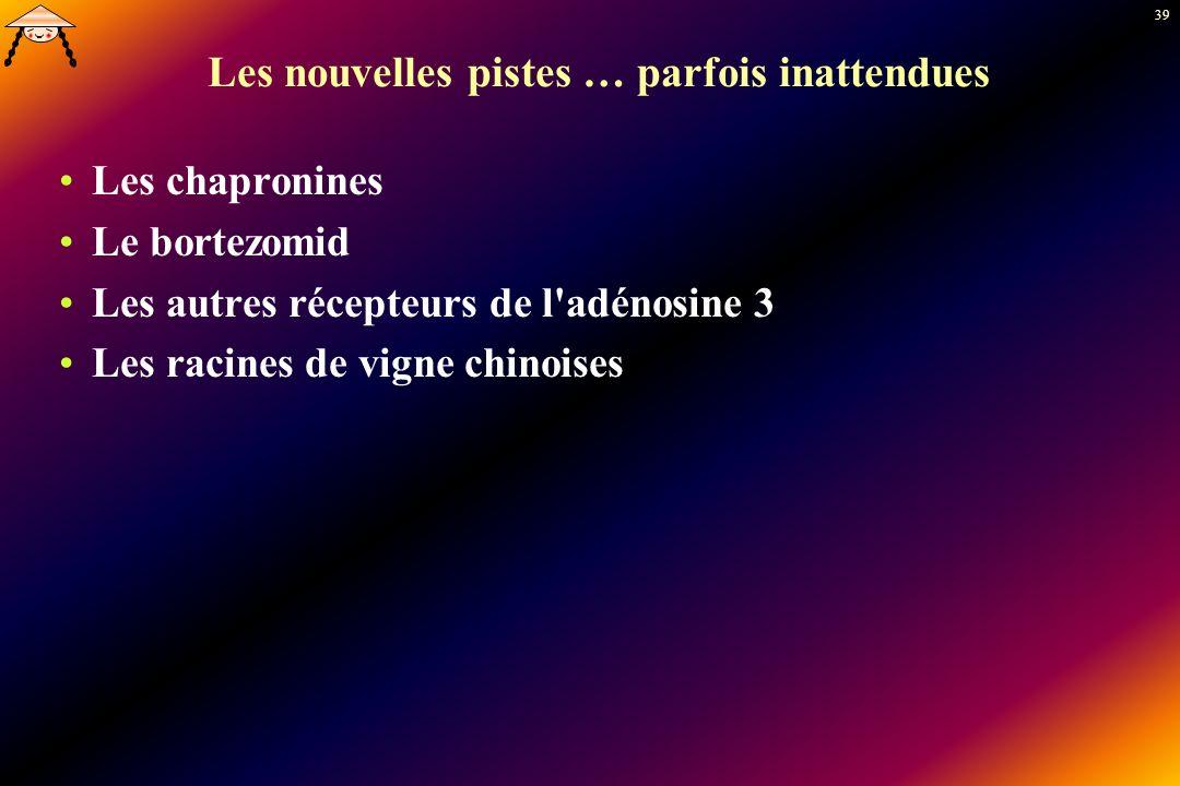 39 Les nouvelles pistes … parfois inattendues Les chapronines Le bortezomid Les autres récepteurs de l'adénosine 3 Les racines de vigne chinoises