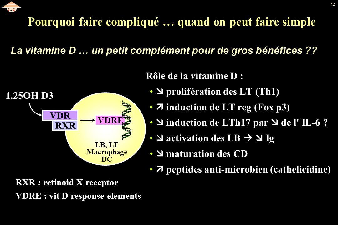 42 Rôle de la vitamine D : prolifération des LT (Th1) induction de LT reg (Fox p3) induction de LTh17 par de l' IL-6 ? activation des LB Ig maturation