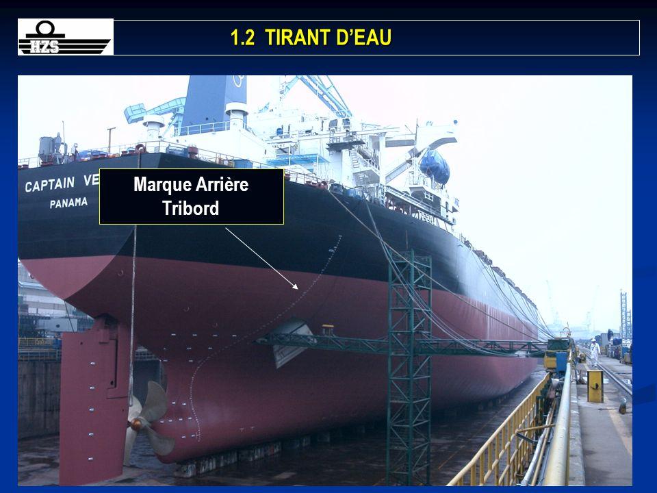 391BACH/3GRAD-Stabilité-Chapitre 1 Marque Arrière Tribord 1.2 TIRANT DEAU 1.2 TIRANT DEAU