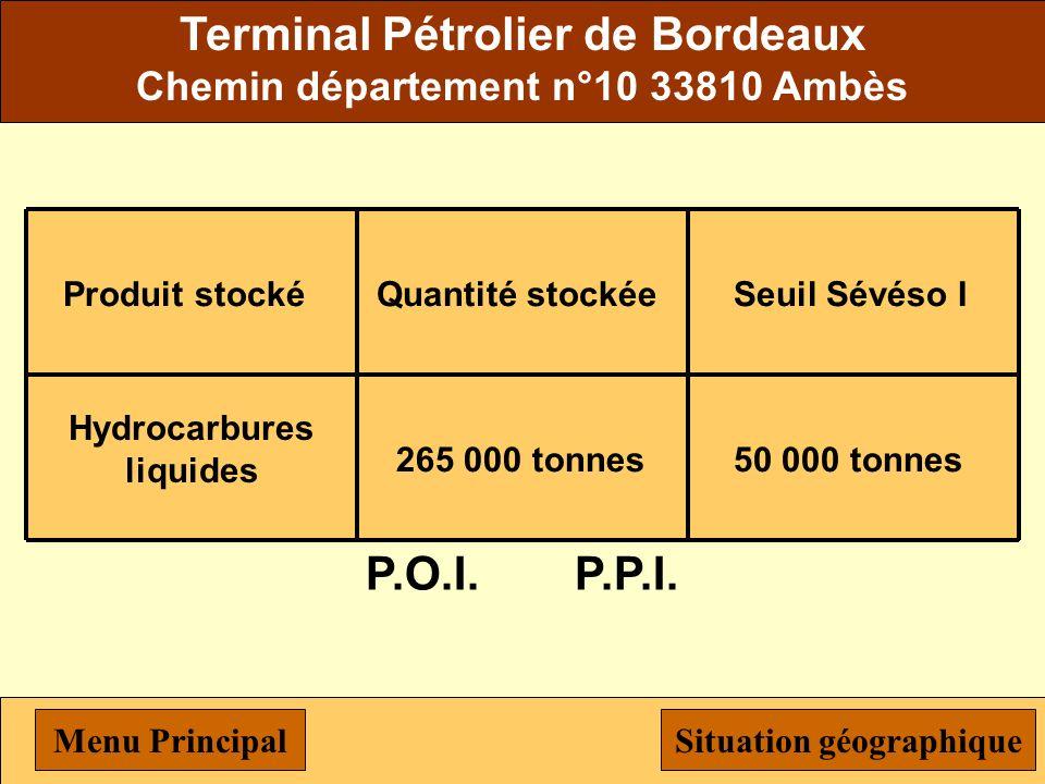 EKA chimie ZI du Bec d'Ambès 33530 Bassens Produit stocké Chlorate de sodium Quantité stockée 600 tonnes Seuil Sévéso I 250 tonnes P.O.I.P.P.I. Menu P