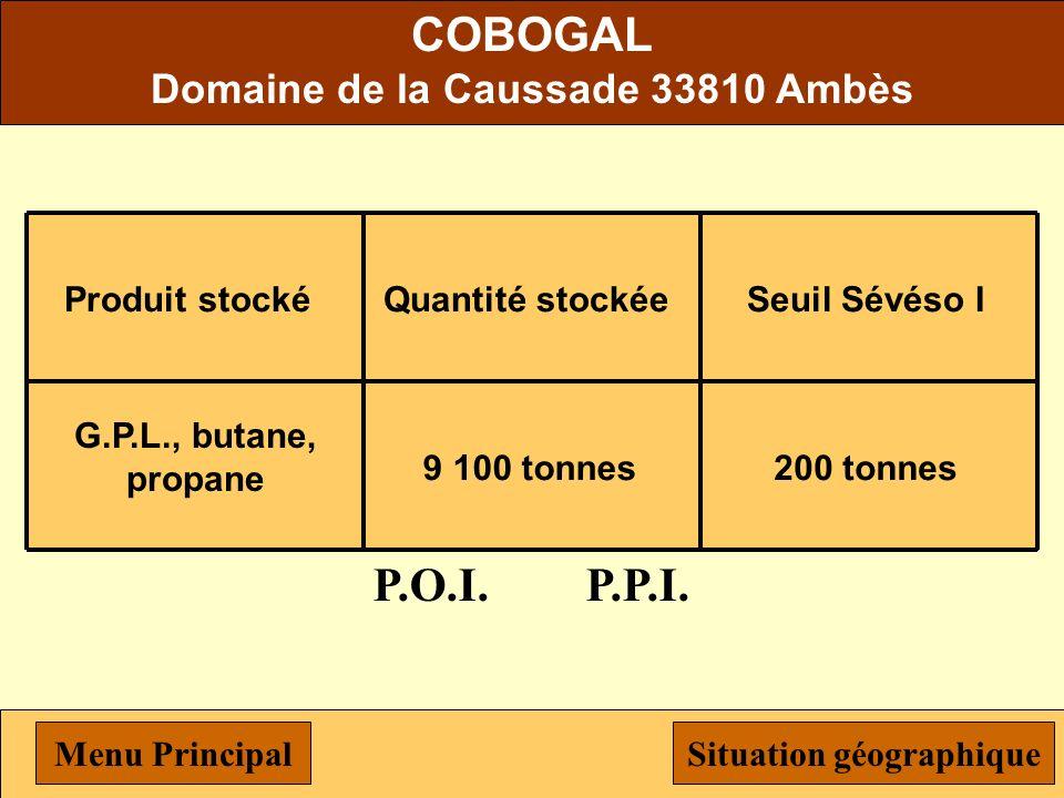 Terminal Pétrolier de Bordeaux Chemin département n°10 33810 Ambès Produit stocké Hydrocarbures liquides Quantité stockée 265 000 tonnes Seuil Sévéso