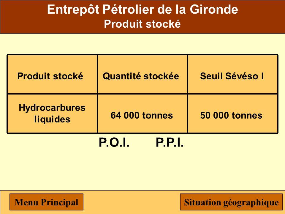Hydo Agri AMBES Chemin Pietru 33810 Ambès Produit stocké Hydrocarbures liquides Quantité stockée 265 000 tonnes Seuil Sévéso I 50 000 tonnes P.O.I.P.P