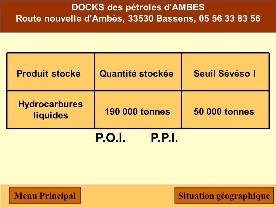 Michelin Produit stocké Butadiène Quantité stockée 8 000 tonnes Seuil Sévéso I 200 tonnes Solvants9 000 tonnes P.O.I.P.P.I. Menu PrincipalSituation gé
