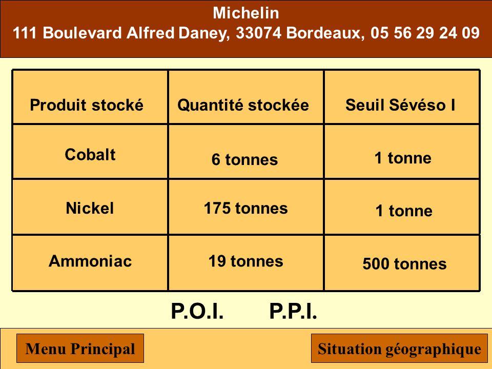 DOCKS des pétroles d'AMBES Route nouvelle d'Ambès, 33530 Bassens, 05 56 33 83 56 Produit stocké Hydrocarbures liquides Quantité stockée 190 000 tonnes