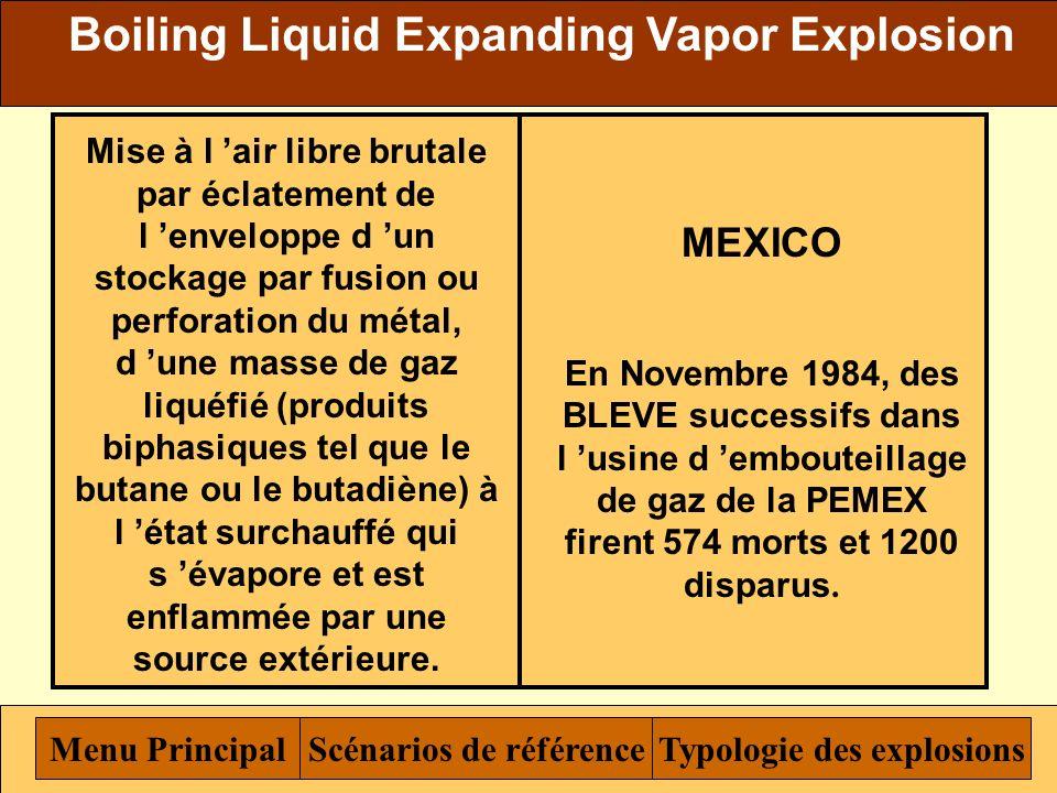 Explosion Menu Typologie des explosions Incendie Menu Principal Boiling Liquid Expanding Vapor Explosion Unconfined Vapor Cloud Explosion Détonation e