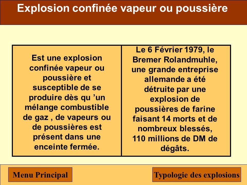 Unconfined Vapor Cloud Explosion Ce type d explosion peut se produire lorsqu une grande quantité de vapeurs combustibles est rejetée en « atmosphère n