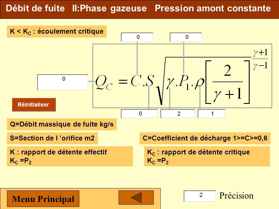 Débit de fuite II:Biphasique 1-Phase liquide Q=Débit massique de fuite kg/sC=Coefficient de décharge 1>=C>=0,6 S=Section de l orifice m 2 P 1 =Pressio