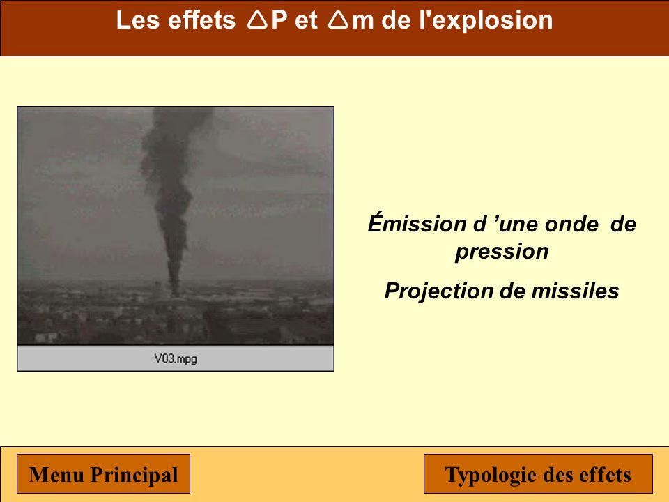 Typologie des effets Menu Principal Menu Les effets de l explosion Définition de l explosion Ondes de pression et missiles Flux thermique de polluants