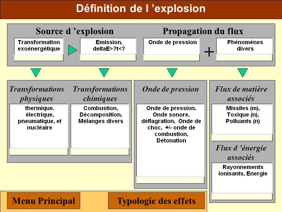 Les effets T et n de l'explosion Propagation d un flux thermique Émission de flux polluants et/ou de flux toxiques Menu Principal Typologie des effets