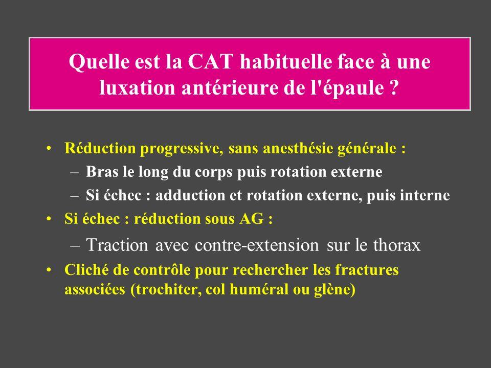 Quelle est la CAT habituelle face à une luxation antérieure de l'épaule ? Réduction progressive, sans anesthésie générale : –Bras le long du corps pui