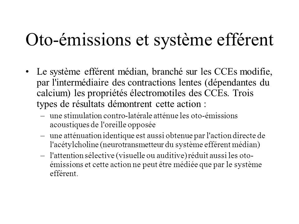 Oto-émissions et système efférent Le système efférent médian, branché sur les CCEs modifie, par l'intermédiaire des contractions lentes (dépendantes d