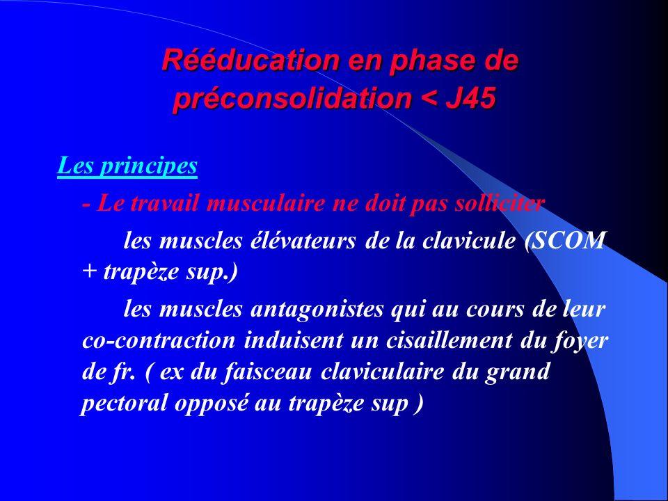 Rééducation en phase de préconsolidation < J45 Rééducation en phase de préconsolidation < J45 Les principes - Le travail musculaire ne doit pas sollic